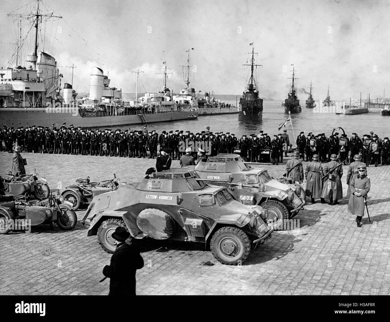 German troops marching in the Klaipeda region, 1939 - Stock Image