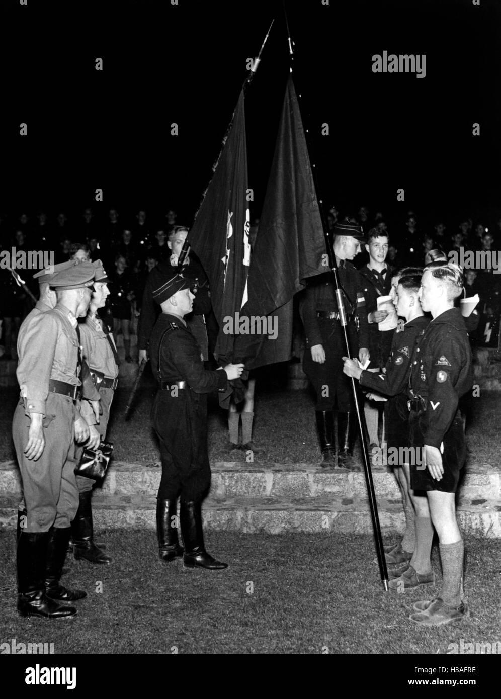 Flag consecration in the Volkspark Rehberge, Berlin 1938 - Stock Image