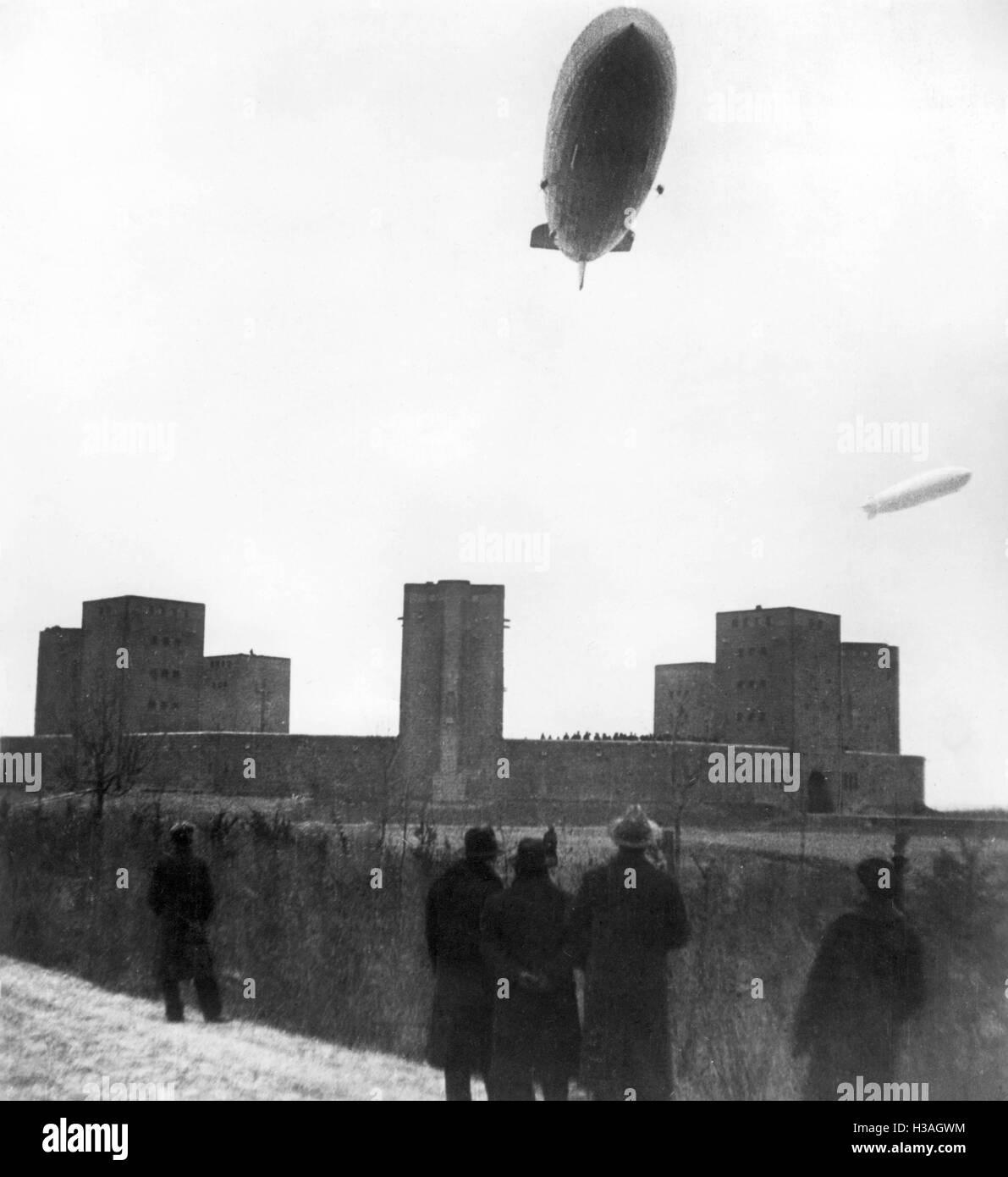 Zeppelins over the Tannenberg Memorial, 1936 Stock Photo
