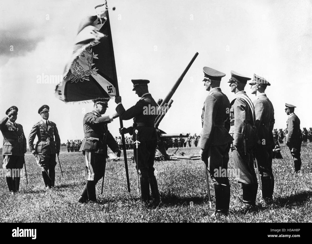 Handover of flags to Luftwaffe units in East Prussia, 1936 - Stock Image
