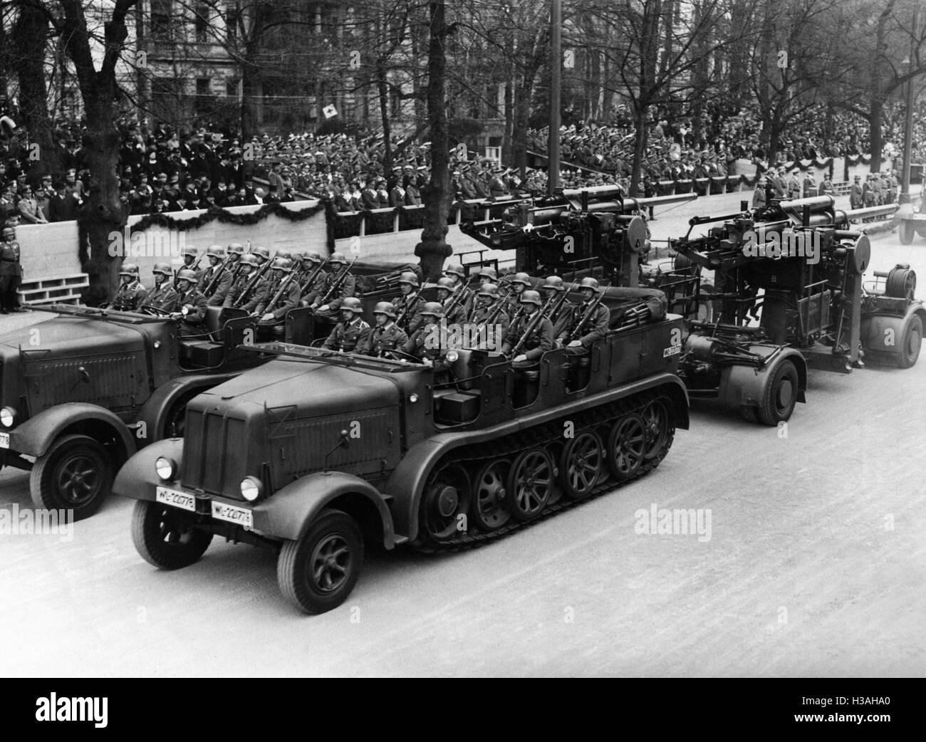 Military parade in honor of the birthday of Adolf Hitler, 1937 - Stock Image