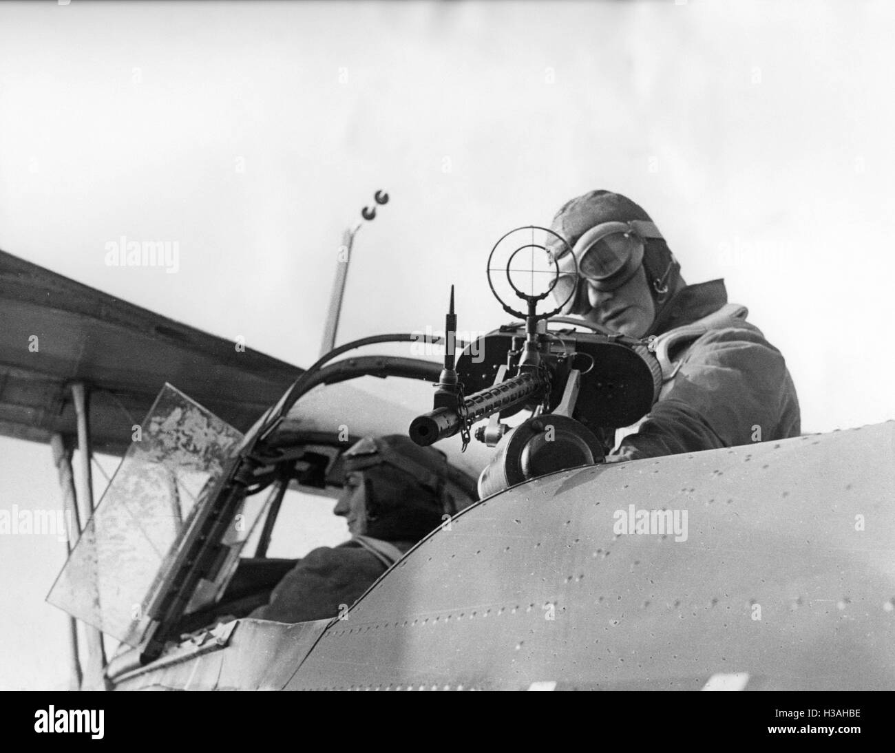 An observer and the pilot of an Hs 126 during an exercise in 1939 - Stock Image