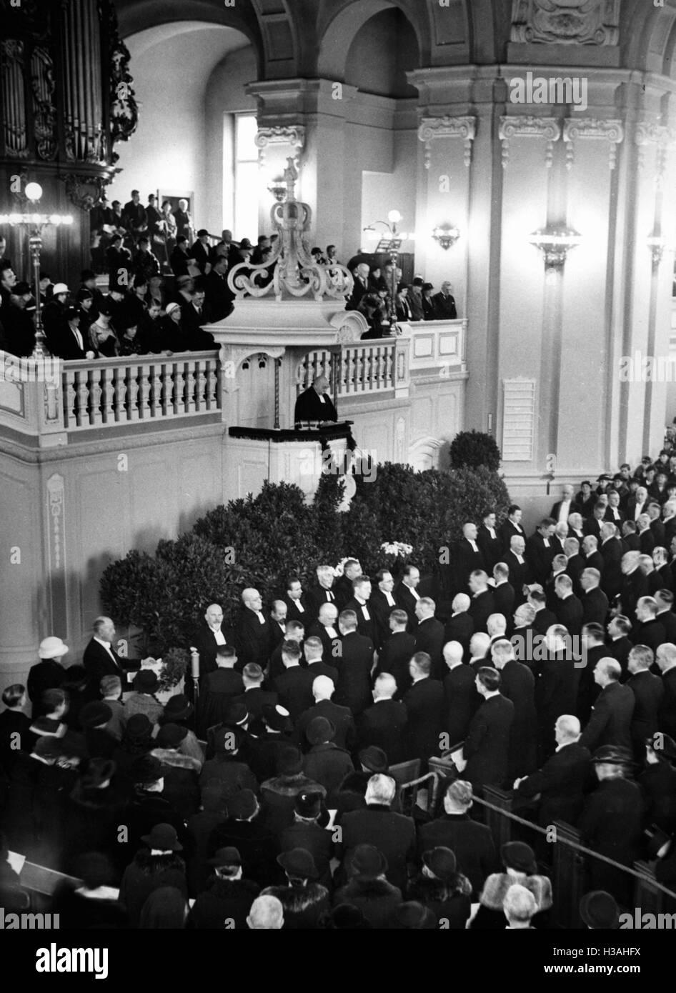 Festive service on the 250th anniversary of Huguenots in Berlin, 1935 - Stock Image