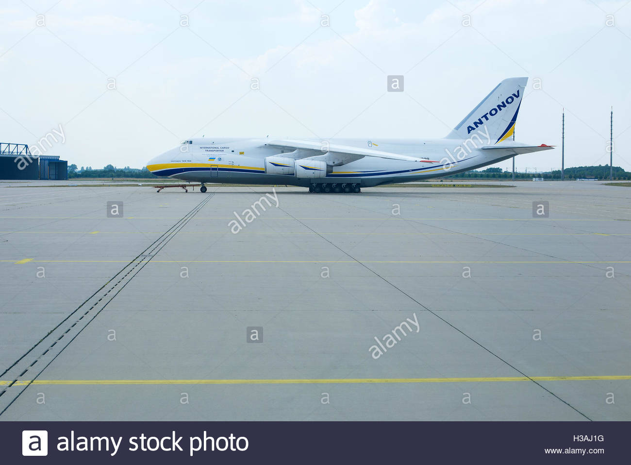 Antonov 124-100 at the Leipzig Airport. - Stock Image