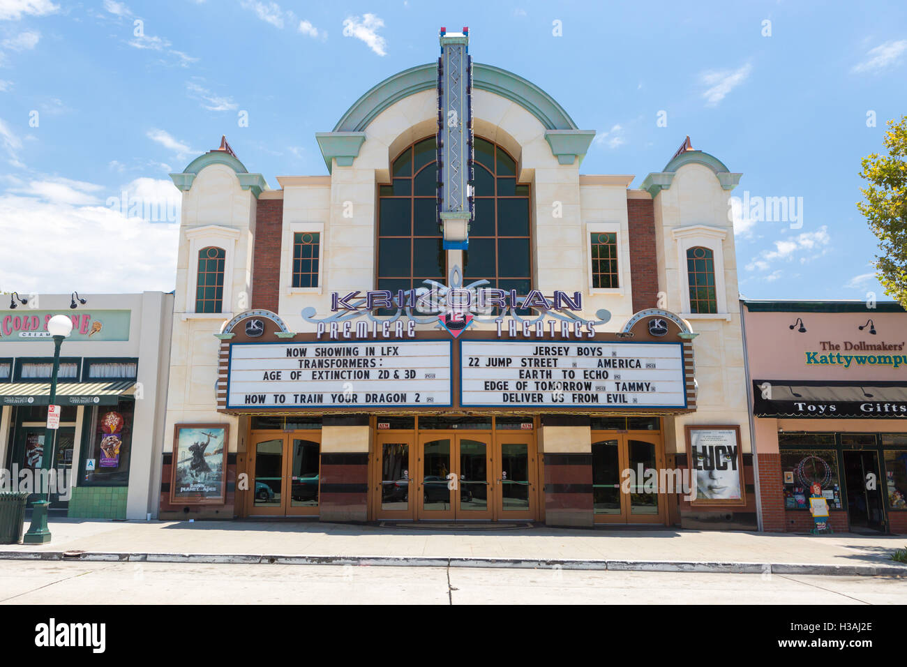 Los Angeles, USA - 6 July, 2014: The Krikorian Theater on S Myrtle Ave in Monrovia, Los Angeles, USA - Stock Image