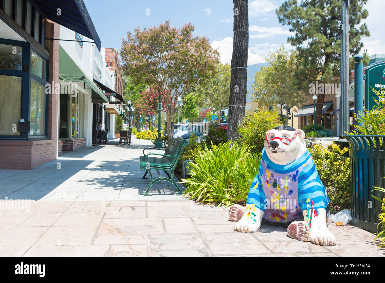 Los Angeles, USA - 6 July, 2014: A view over down S Myrtle Ave in Monrovia, Los Angeles, USA - Stock Image