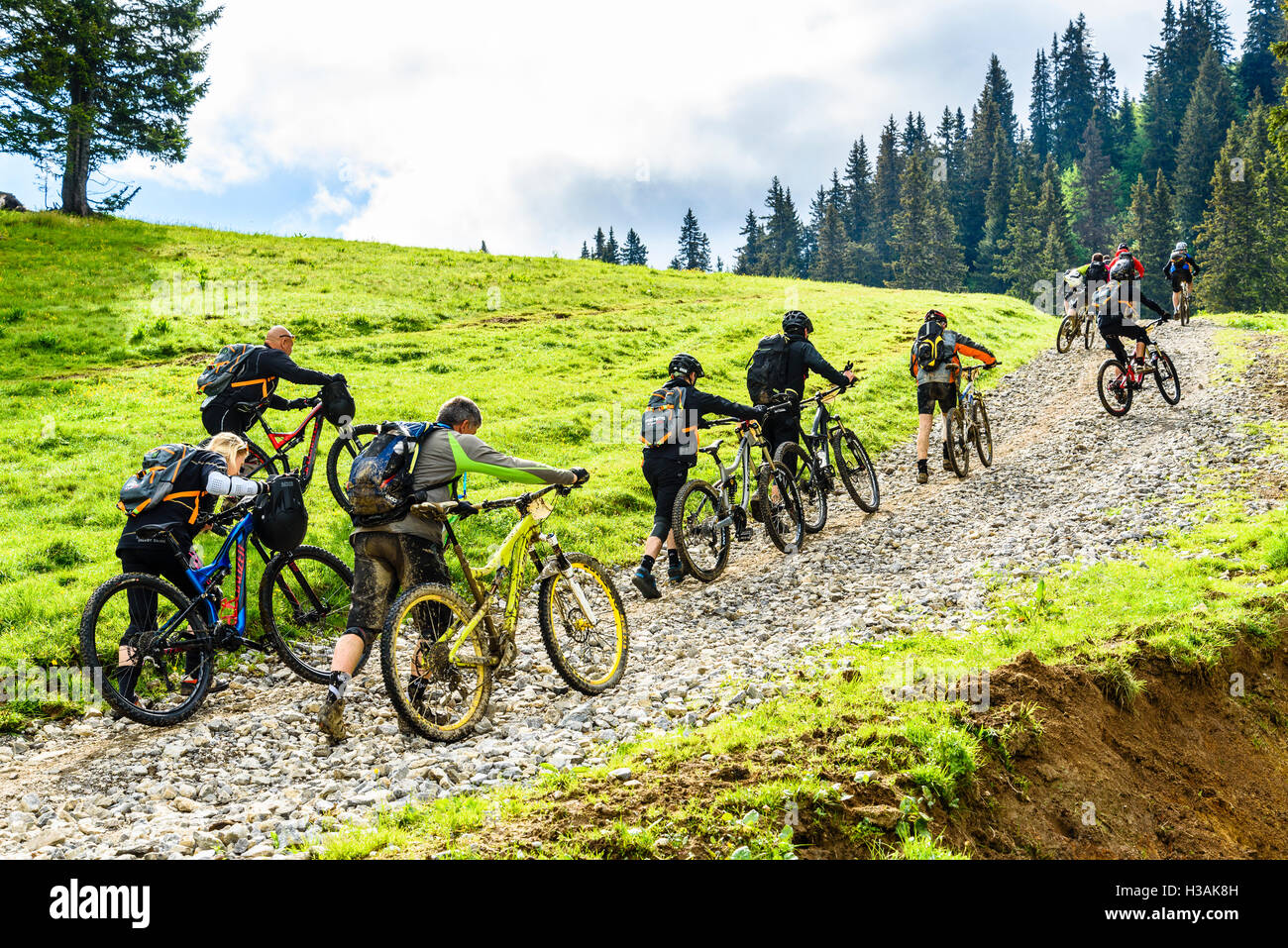 Rider participating in Pass'Portes du Soleil MTB 2016 a mountain bike event across the French-Swiss border - Stock Image