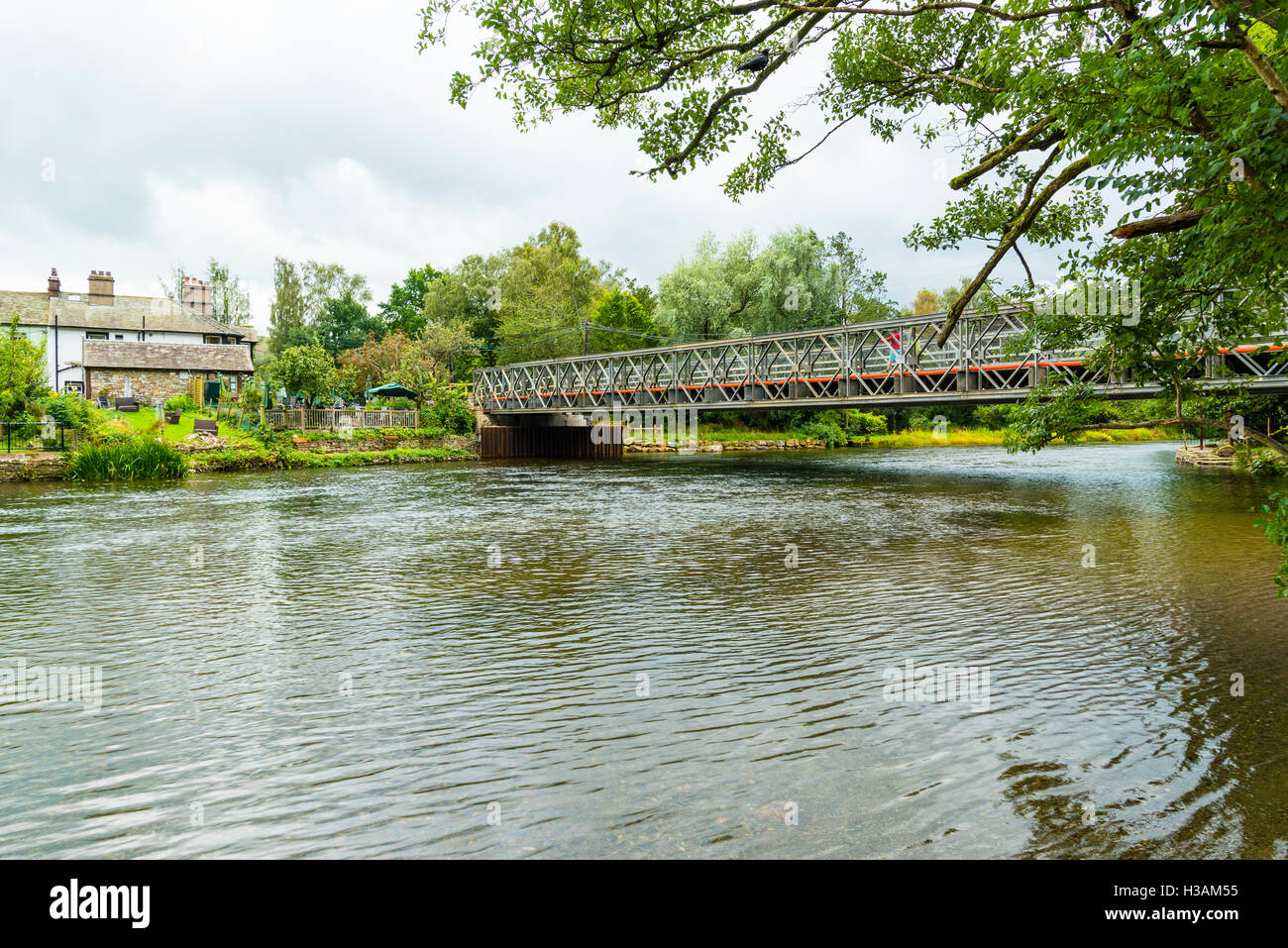 Temporary bridge over River Eamont at Pooley Bridge in the Lake District Cumbria, replacing bridge destroyed in - Stock Image