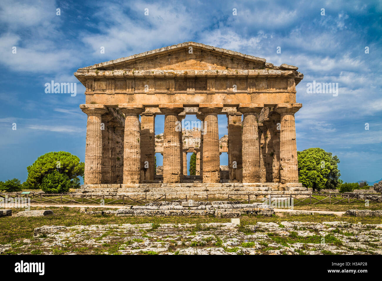 Temple of Hera at famous Paestum Archaeological UNESCO World Heritage Site, which contains some of the most well - Stock Image