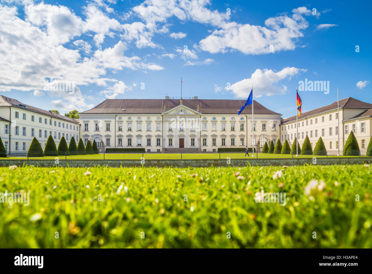 Classic view of famous Schloss Bellevue, the official residence of the President of the Republic of Germany, in - Stock Image