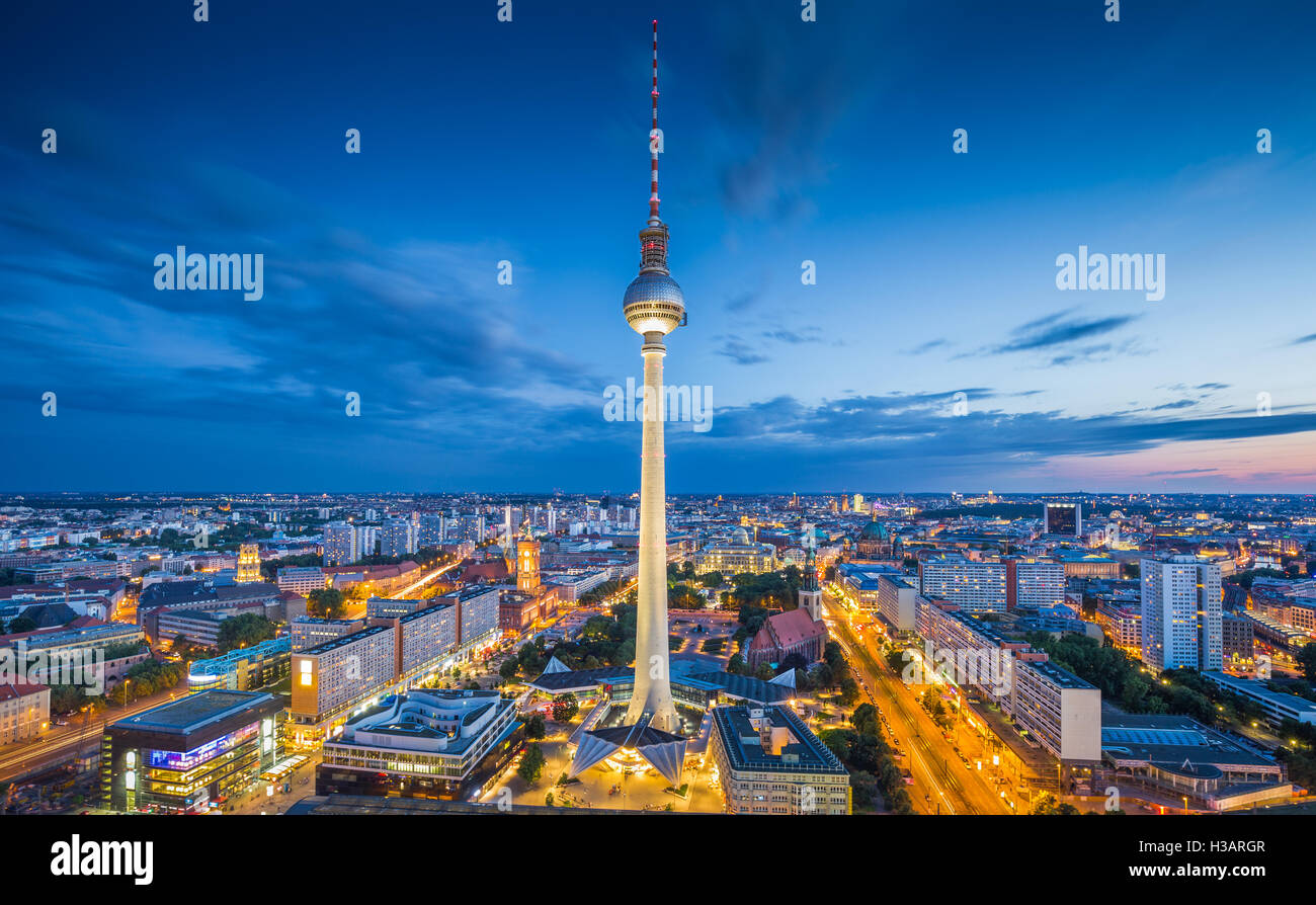Berlin skyline with famous TV tower at Alexanderplatz in twilight at dusk, Germany - Stock Image