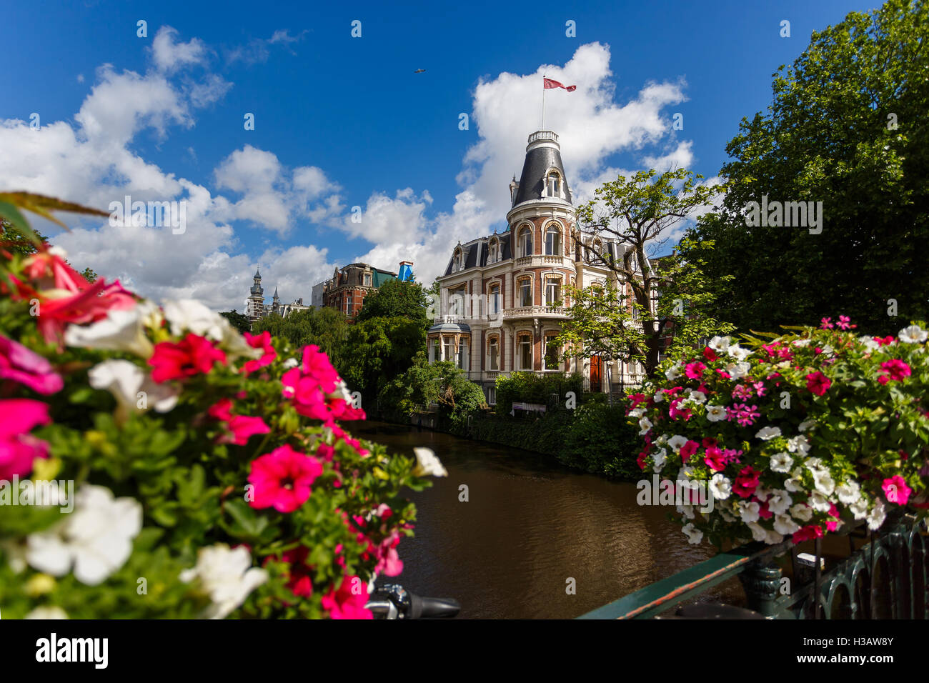 The beautiful house in a flowers frame, Amsterdam Stock Photo ...