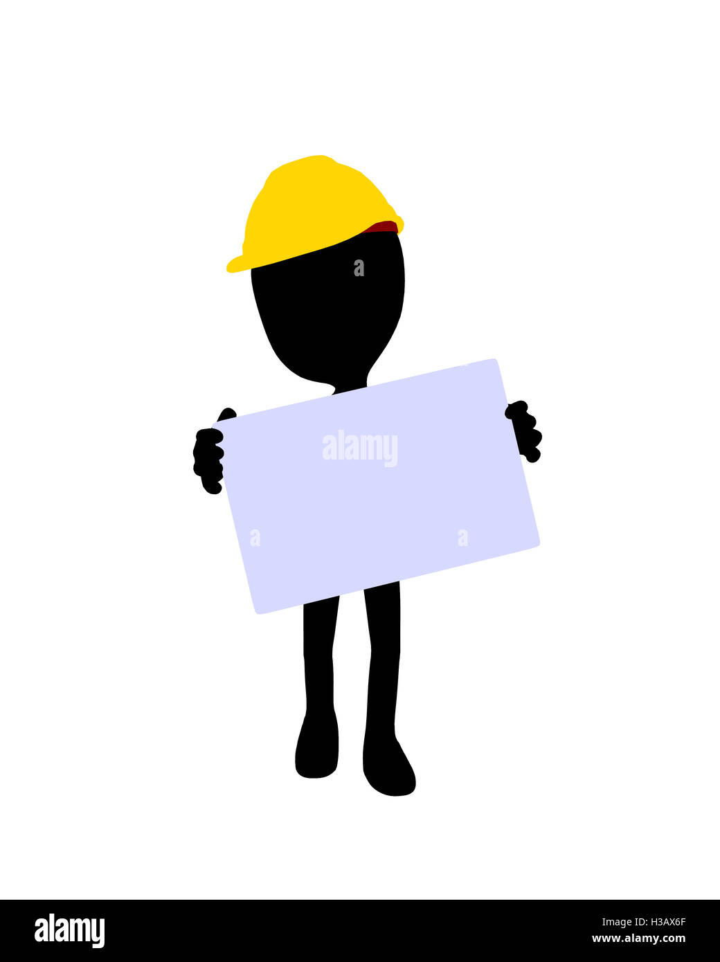Cute Black Silhouette Construction Guy Holding a Blank Business Card ...