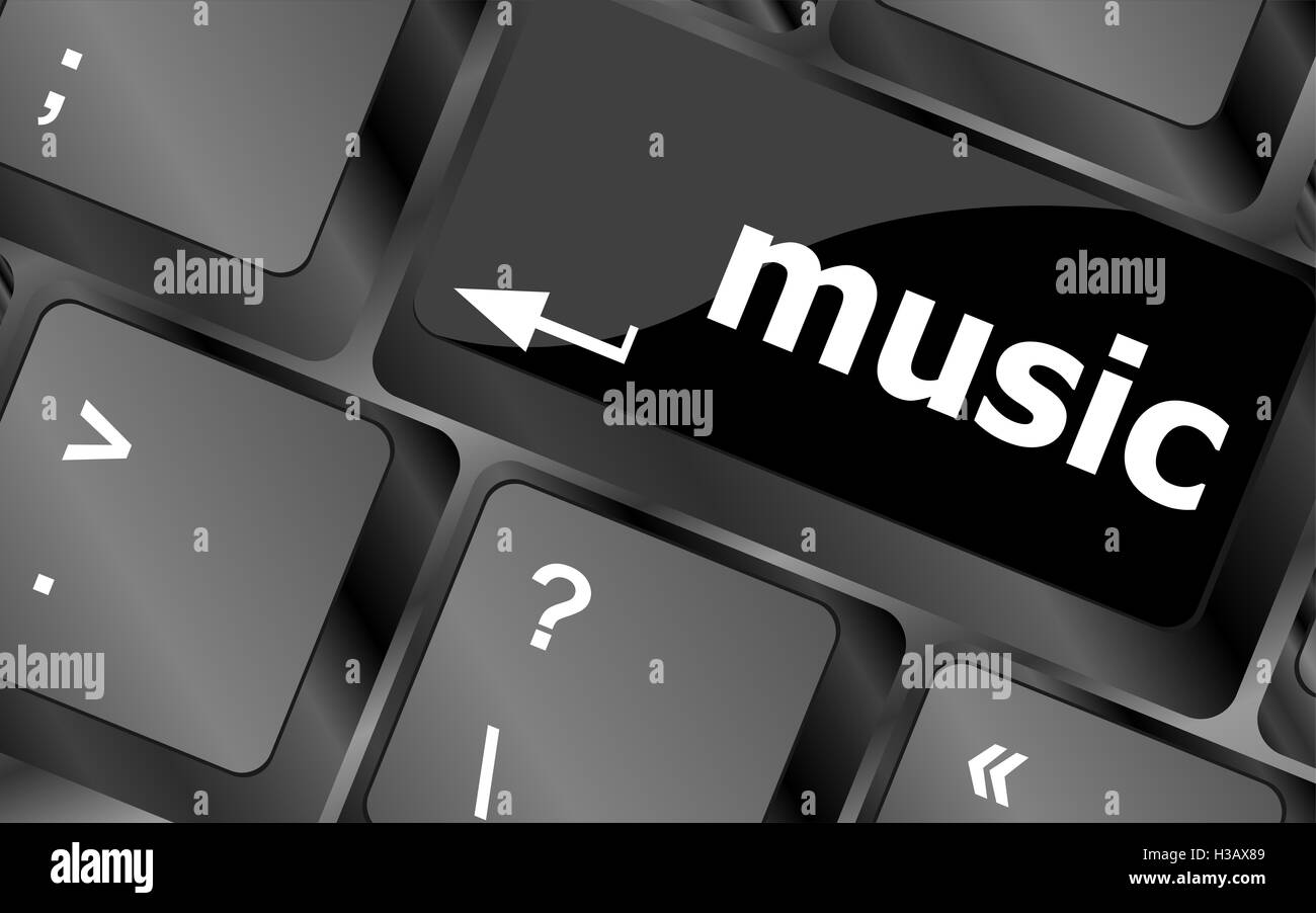 Computer Keyboard Sound Music Symbol Black and White Stock