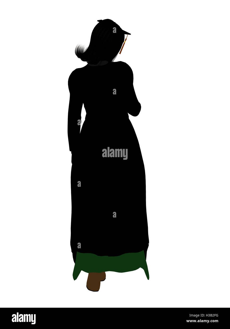 Graduate Illustration Silhouette - Stock Image