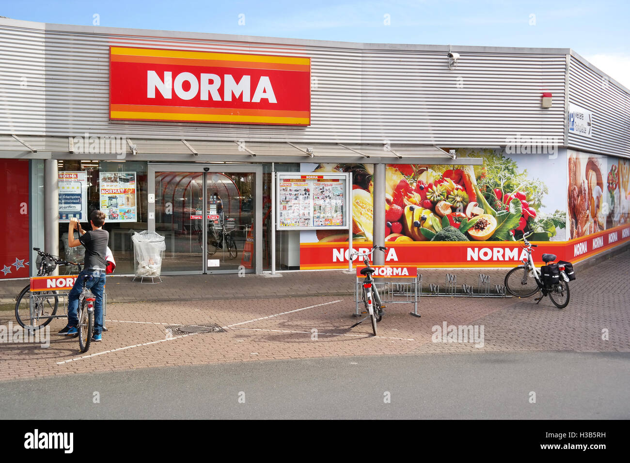 Entrance of Norma discount supermarket. - Stock Image