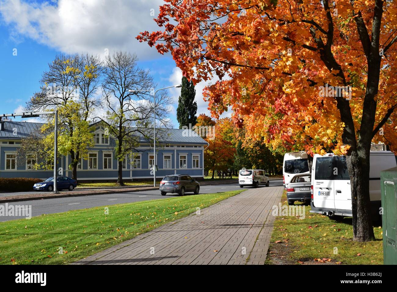 Sunny autumn day in the center of city Salo in Finland Stock Photo