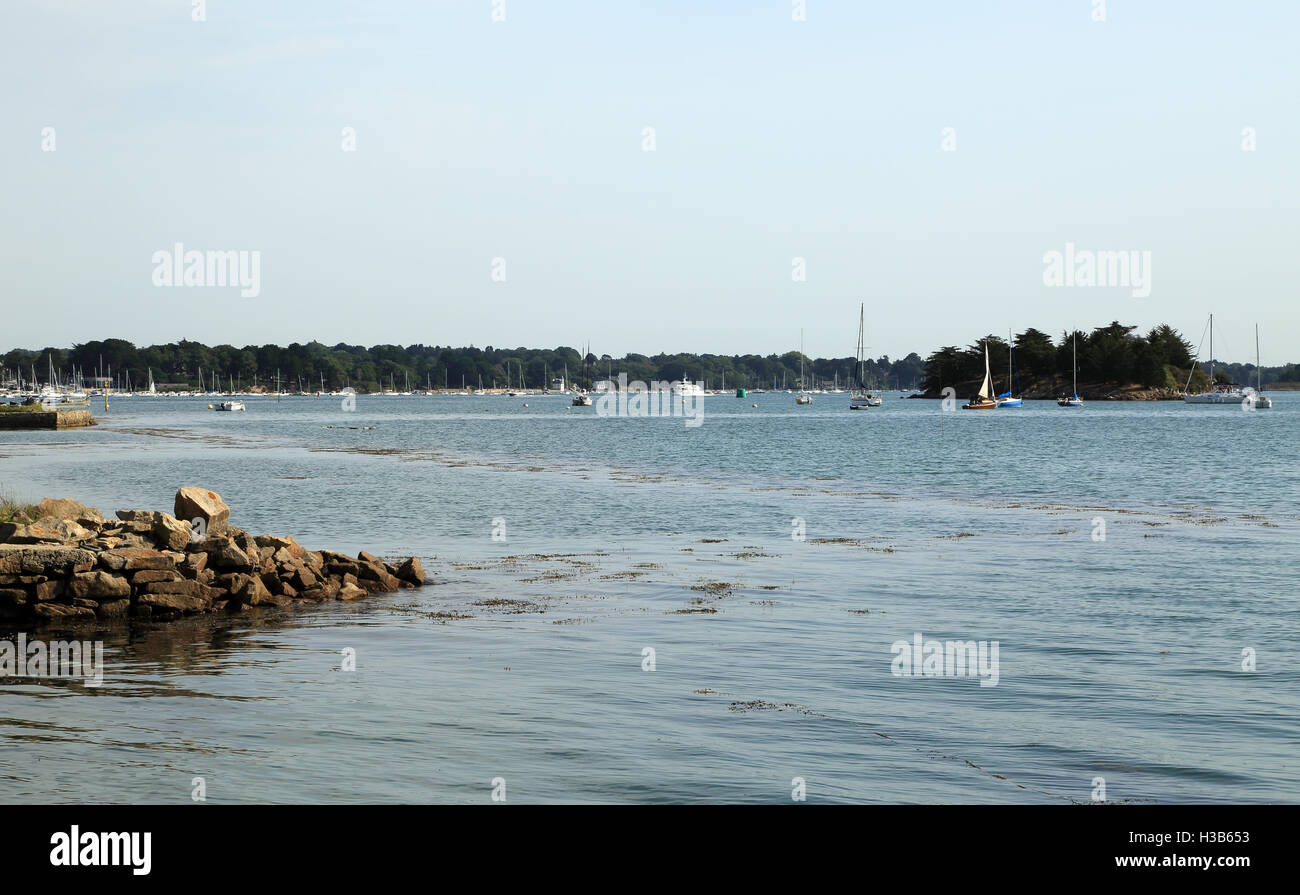 View of Golfe du Morbihan from Pointe du Trech, Ile Aux Moines, Morbihan, Brittany, France - Stock Image