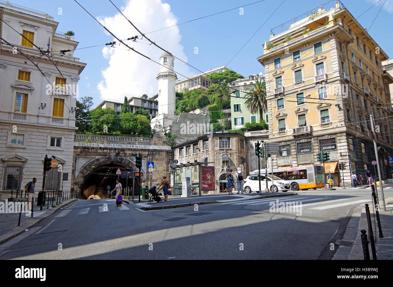 Piazza Portello, a busy intersection in Genoa, Italy, junction of many streets, including the tunnel Galleria Garibaldi - Stock Image
