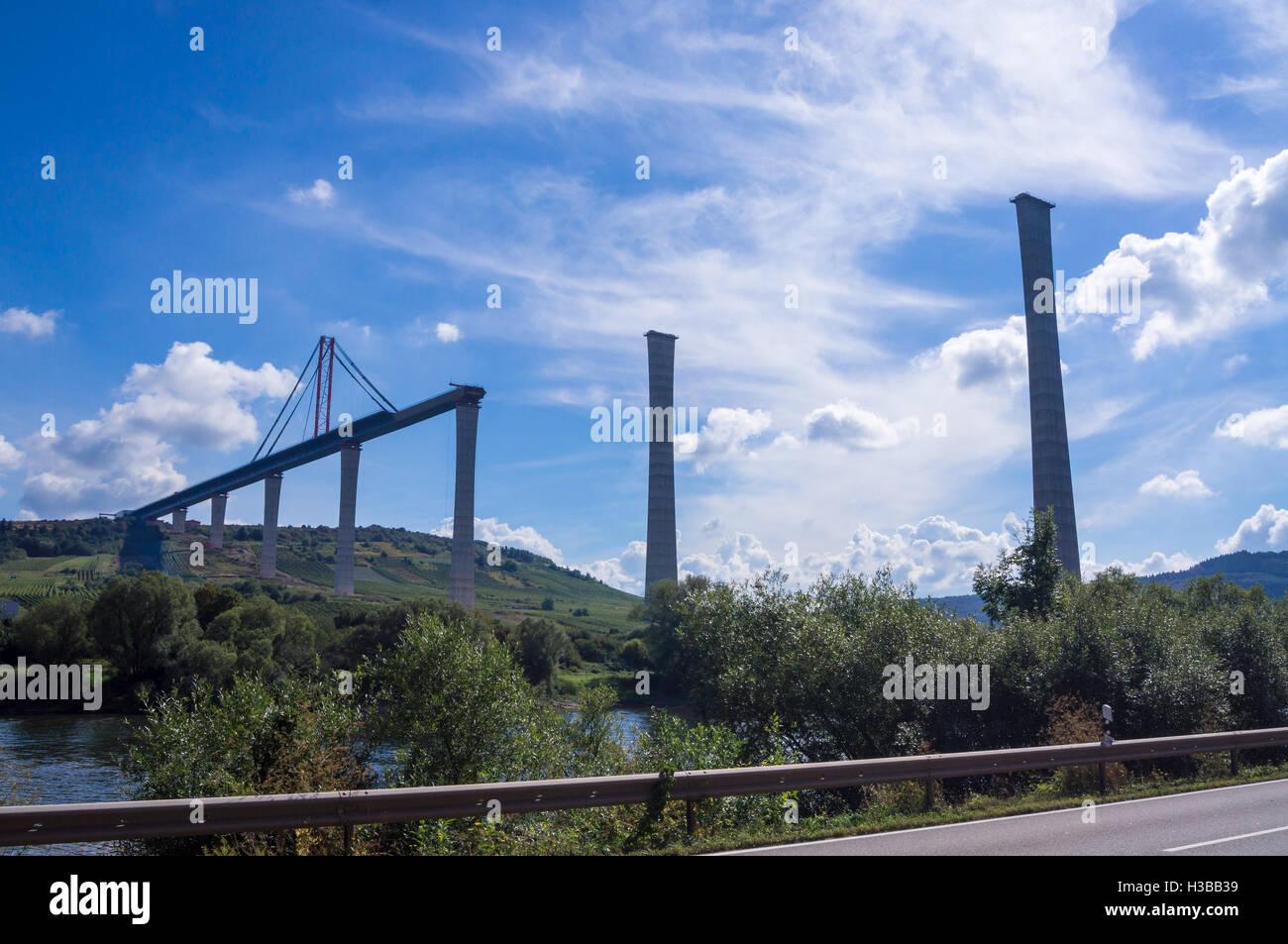 Unfinished Hochmoselübergang B50 motorway bridge, Ürzig, Mosel, Germany - Stock Image