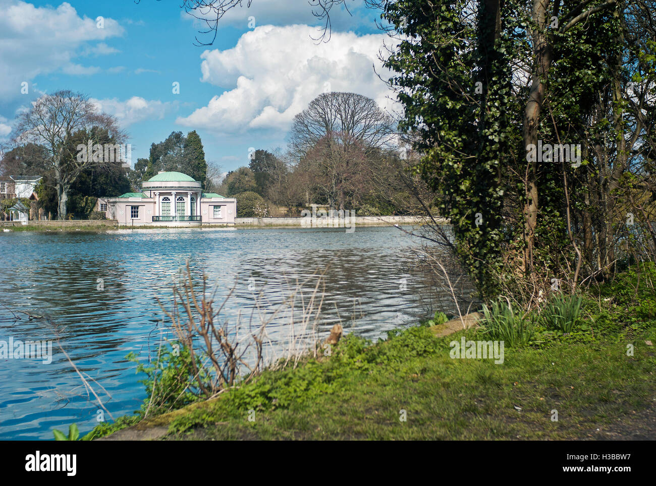 Syon Park pavilion or boat-house on the river Thames, in the grounds of Syon house, London England - Stock Image