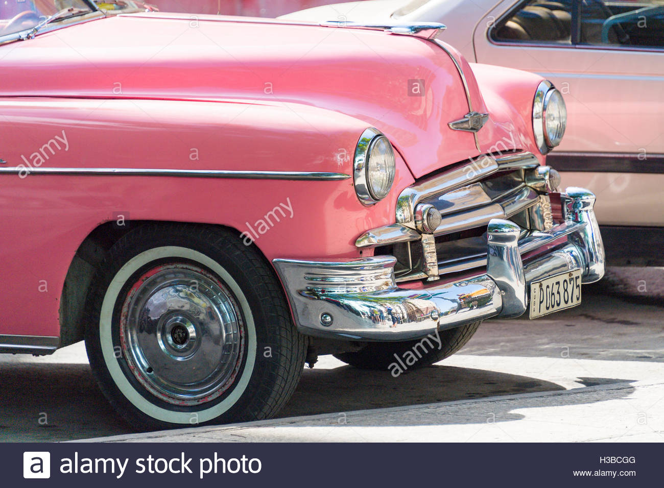 Chevrolet 1949. An old pink American car, used as a taxi in Cuba ...
