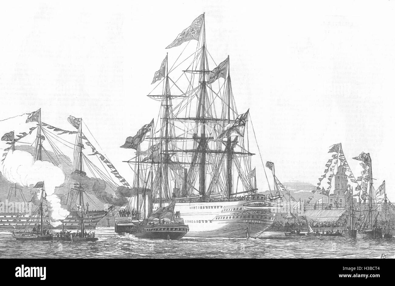PORTSMOUTH / SHIPS The 'Duke Of Wellington' saluting 1876. The Graphic - Stock Image