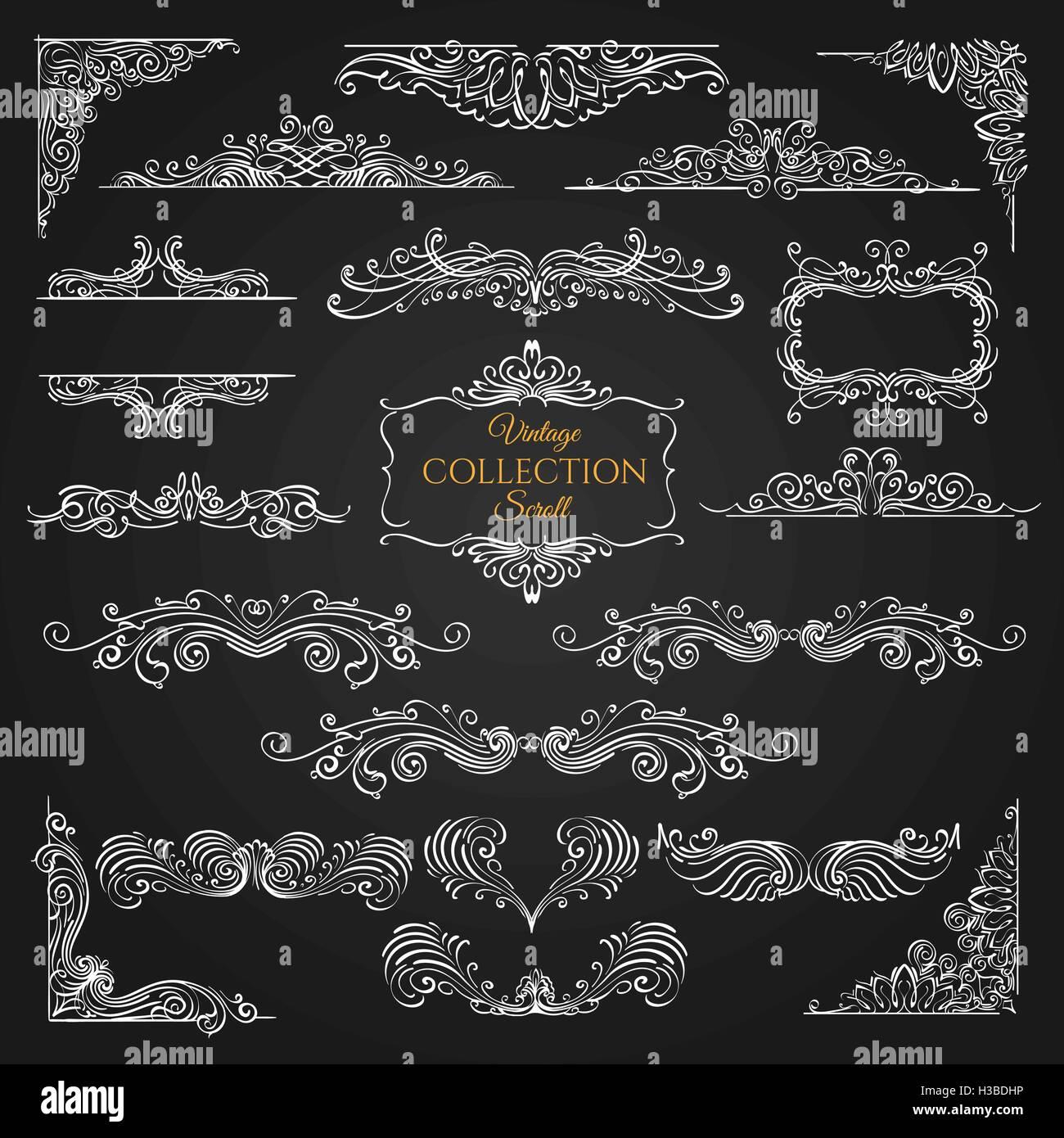 Set of vintage scroll elements on black background. Decorative swirls for your design. Vector illustration. - Stock Image