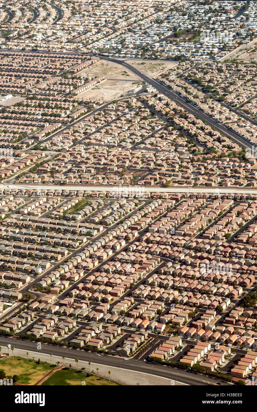 Las Vegas, Nevada - Housing developments in the suburbs of Las Vegas. - Stock Image