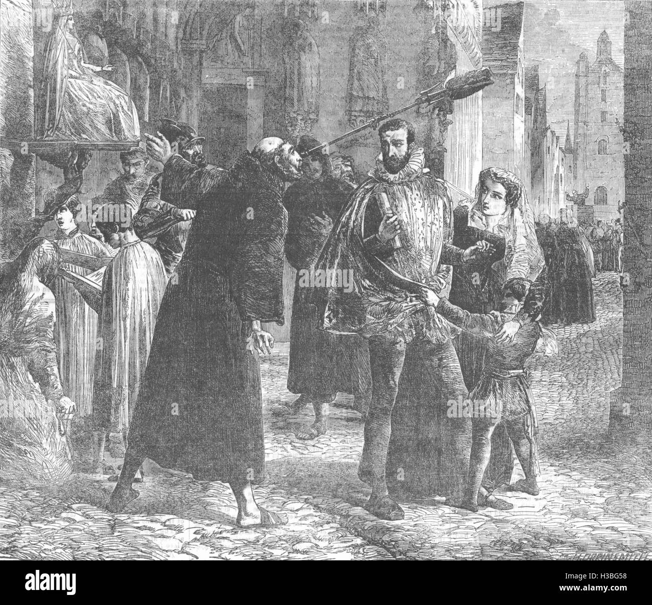 PARIS Time of the Persecution of the Christian Reformers in Paris, in 1559 1854. The Illustrated London News - Stock Image
