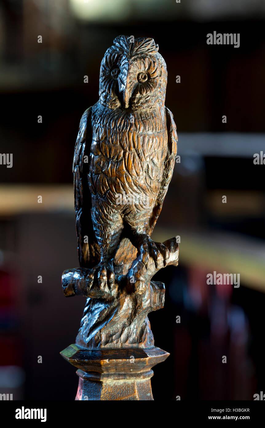 Owl wood carving stock photos