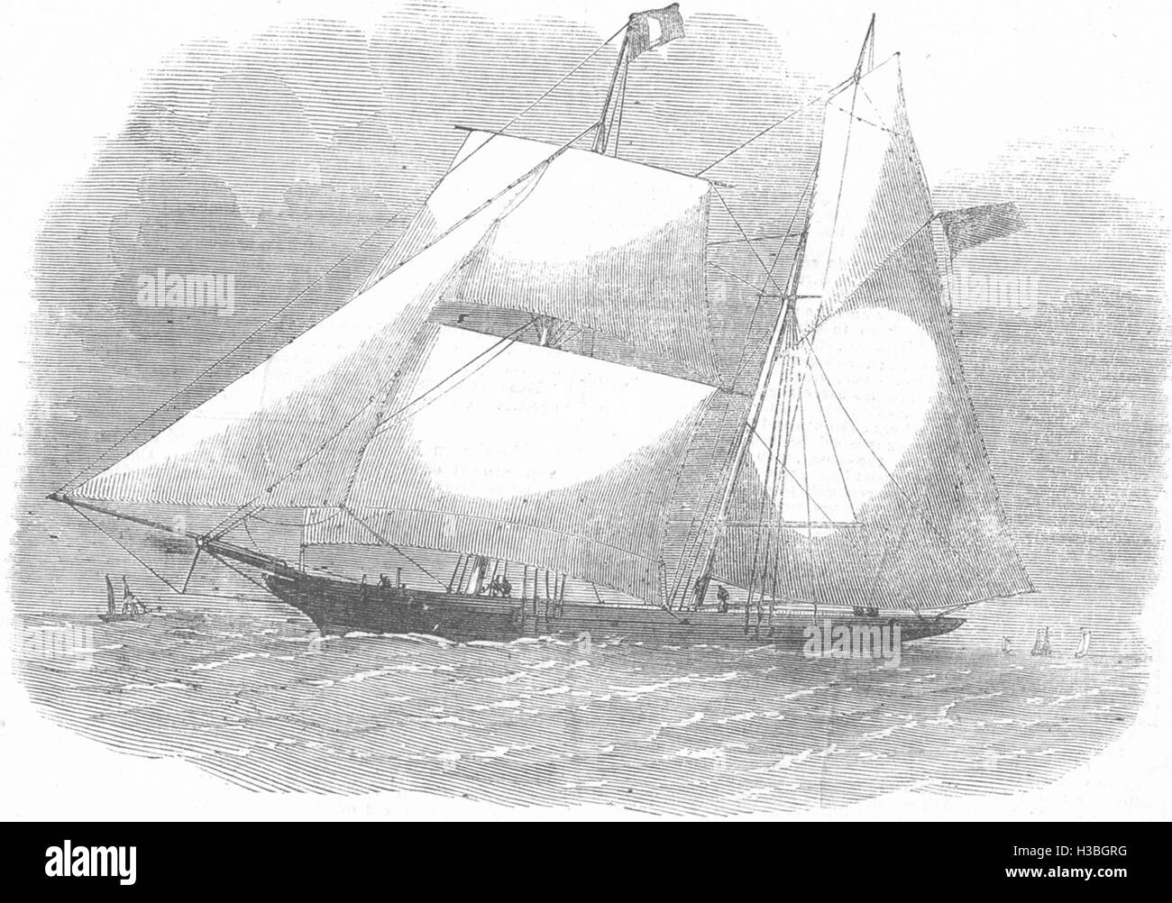 SHIPS Rowlett's brigantine yacht Remarkable 1857. The Illustrated London News - Stock Image