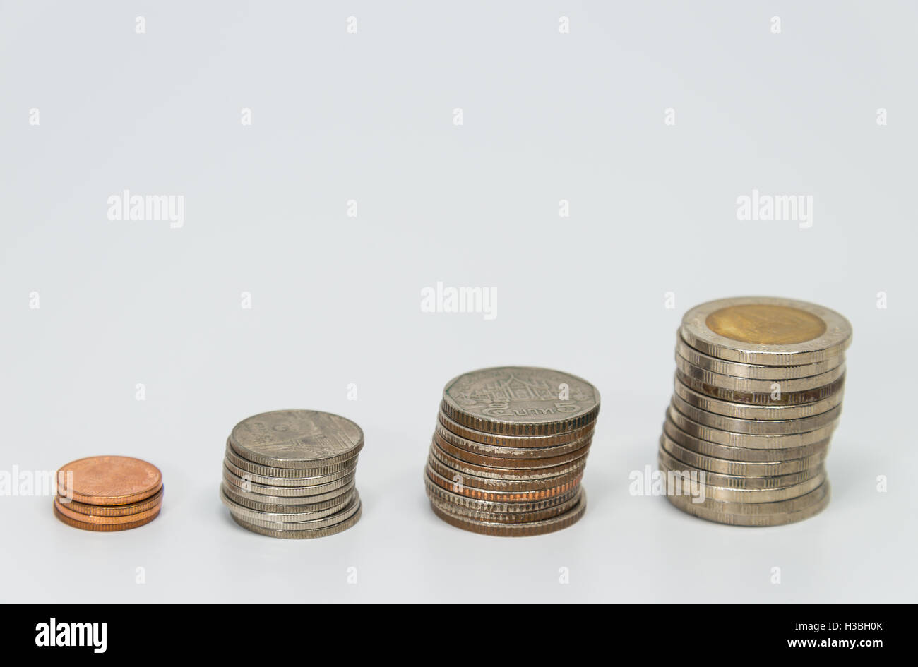 Rows of Thai baht coins for finance and banking concept with white background and selective focus - Stock Image