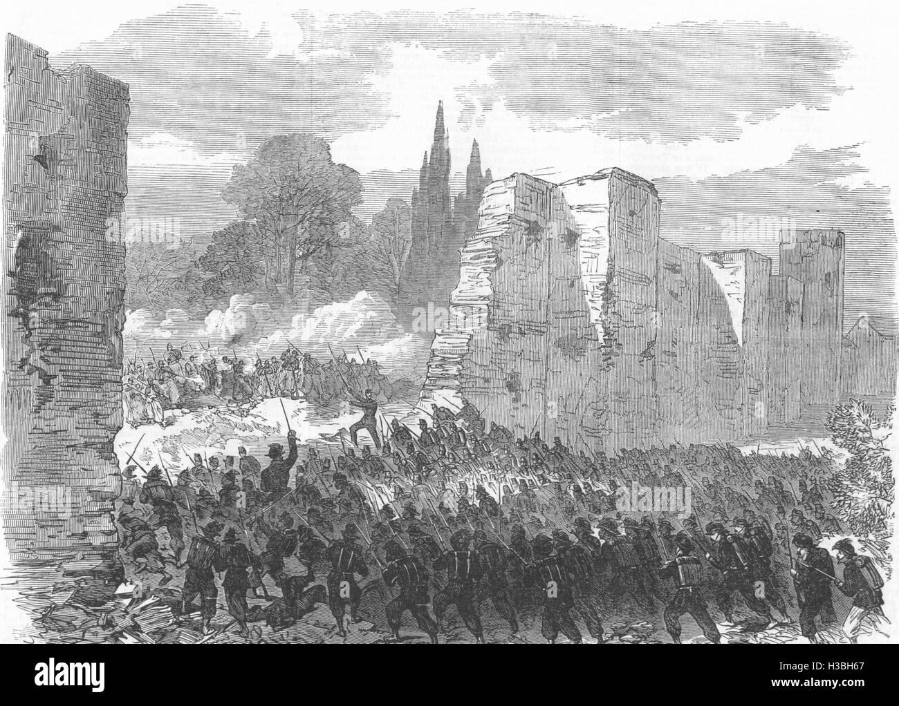 MILITARIA Italian troops storming a breach city walls at Villa Buonaparte 1870. The Illustrated London News Stock Photo