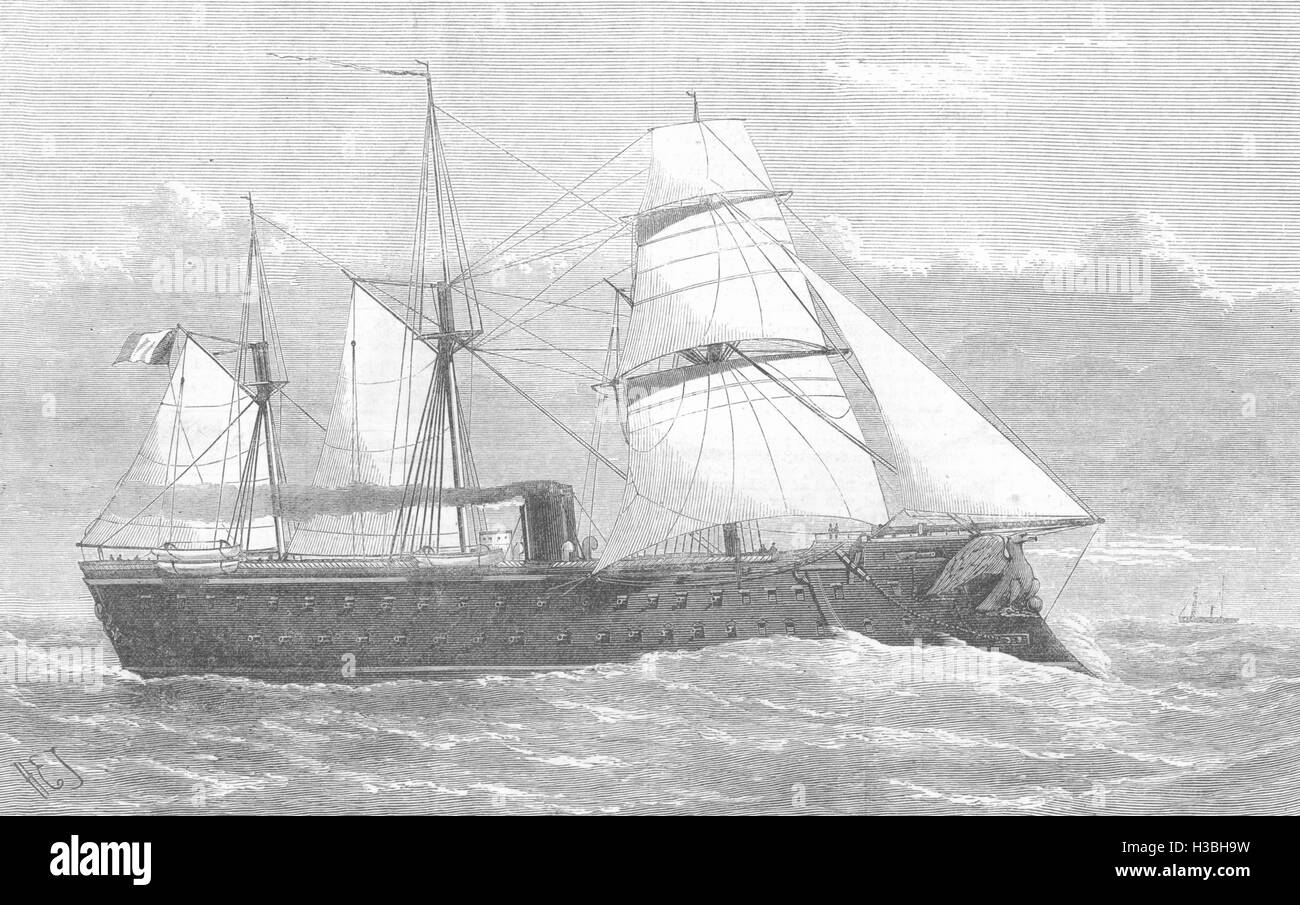 ITALY The Magenta, French Ironclad, burnt in Toulon harbour 1875. The Illustrated London News - Stock Image