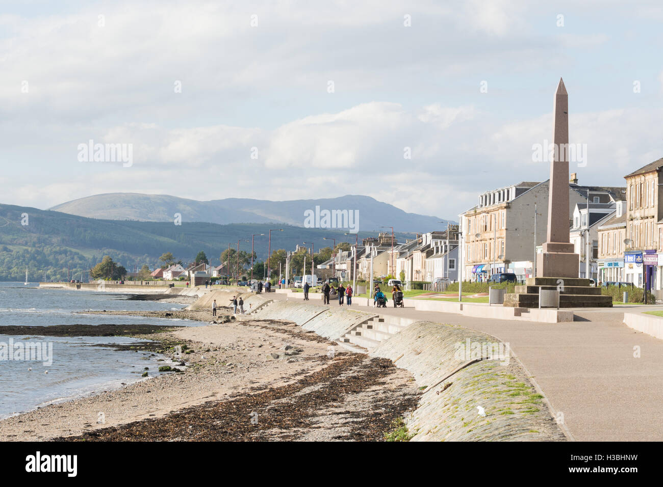 Helensburgh sea front, Clyde Estuary, Argyll, Scotland, UK - home to Henry Bell, who built Europe's first commercial - Stock Image