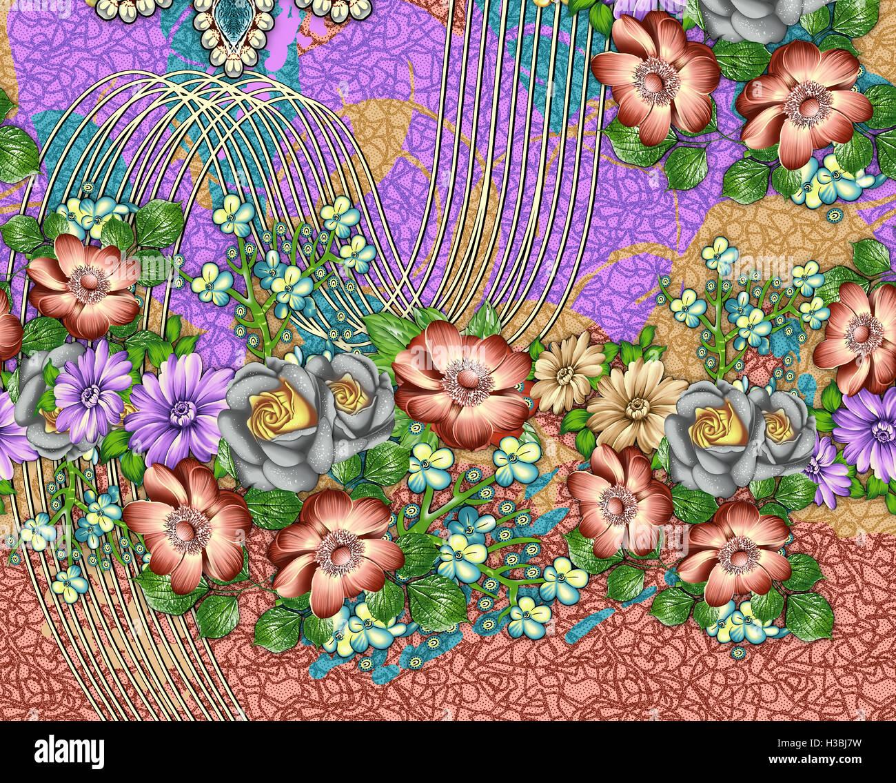 flower spring seamless pattern Stock Photo