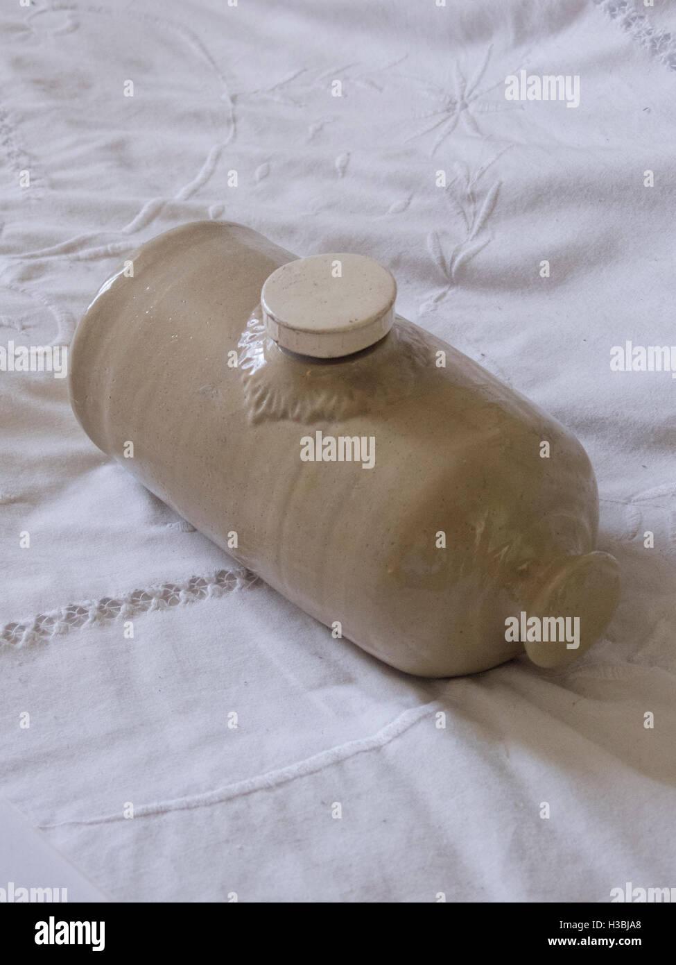 Antique Stoneware Hot Water Bottle, UK - Stock Image