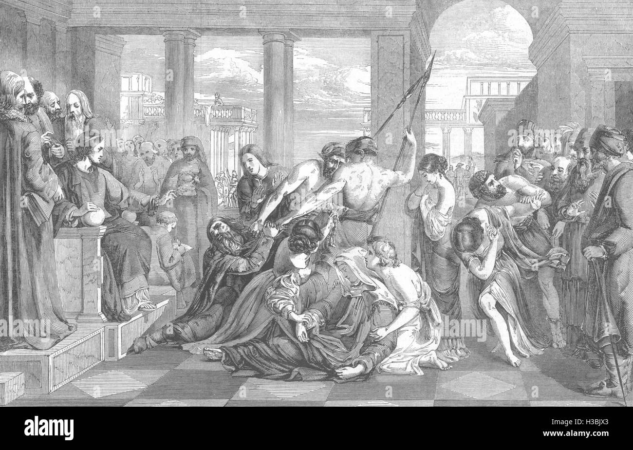 RELIGIOUS The Parable of Forgiveness- (Premium £200) 1847. The Illustrated London News - Stock Image