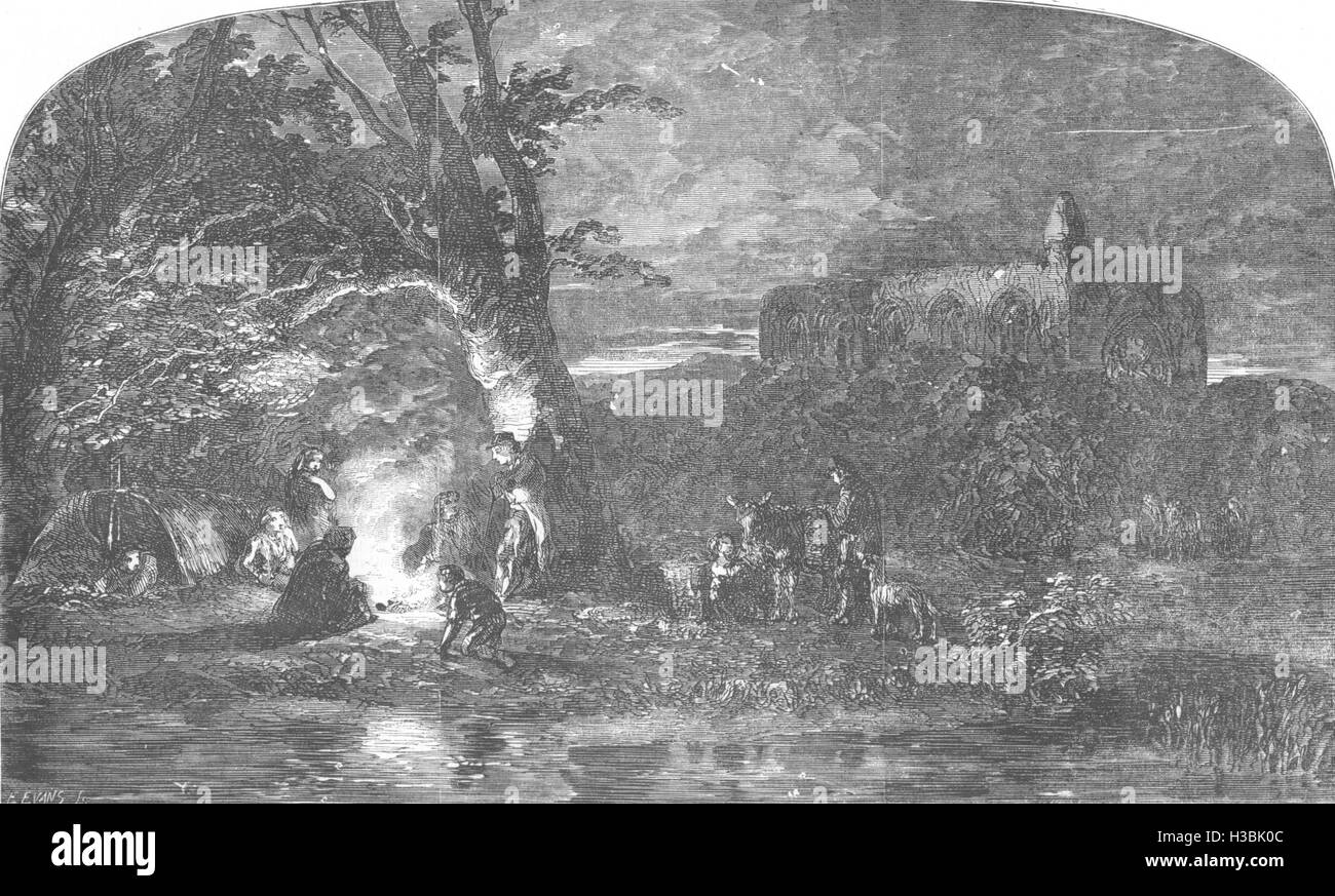 TRIBAL Gipsies-Twilight 1857. The Illustrated London News - Stock Image