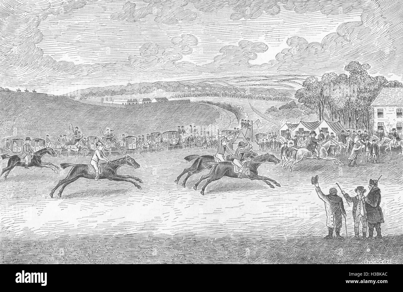 RACING The Race for the Derby in 1791 1885. The Graphic - Stock Image