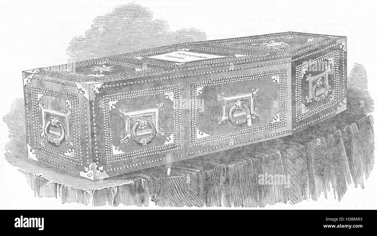 SOCIETY The coffin of the Duke Of Wellington 1852. The Illustrated London News - Stock Image