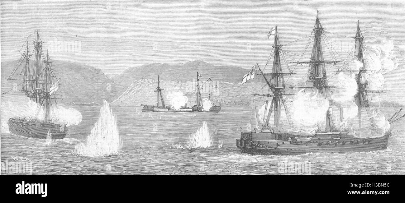 PERU Naval Combat between HMS Shah & Amethyst & Peruvian Huascar Ilo 1877. The Illustrated London News - Stock Image