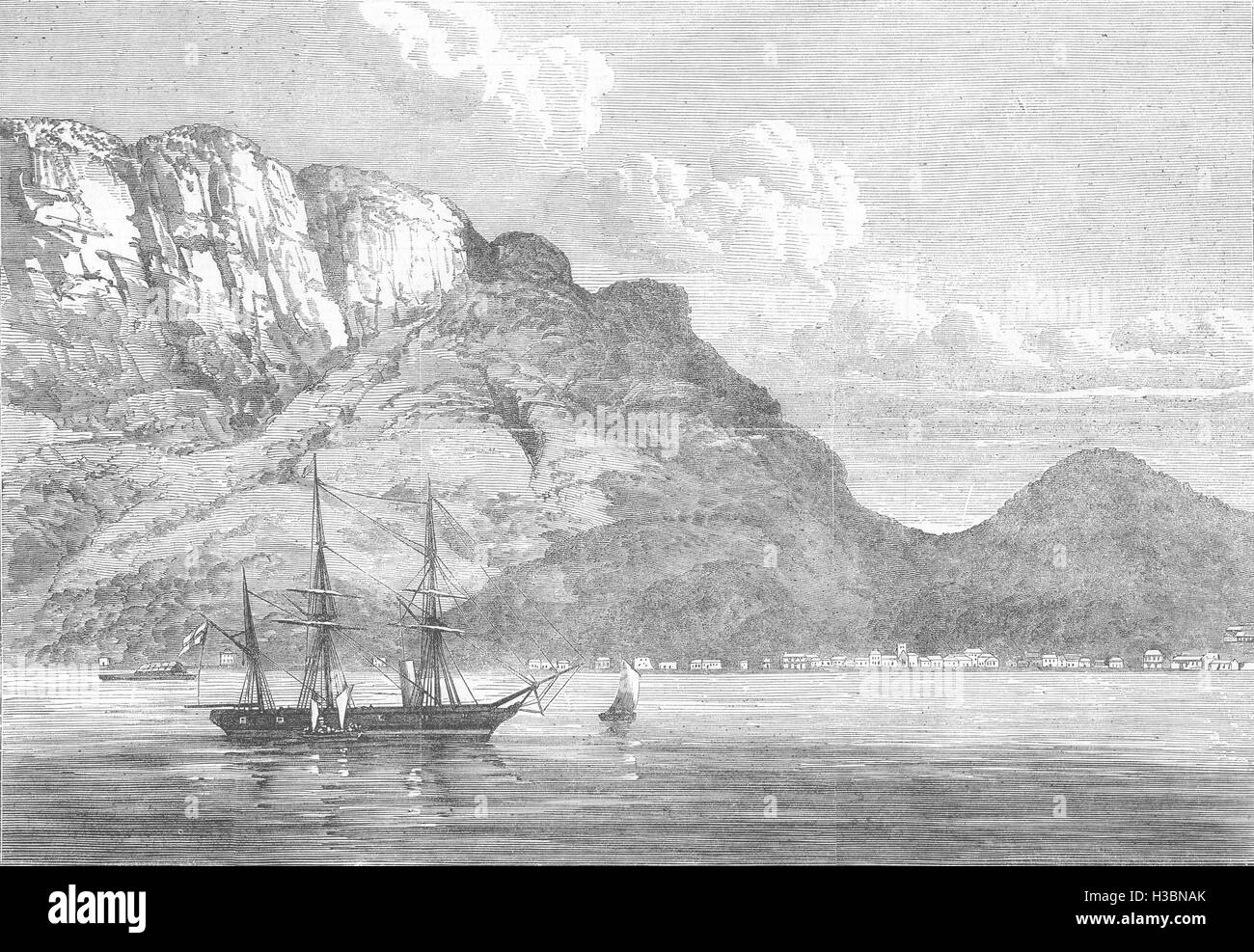 SEYCHELLES HMS Lyra disembarking liberated slaves at Port Victoria 1867. The Illustrated London News - Stock Image