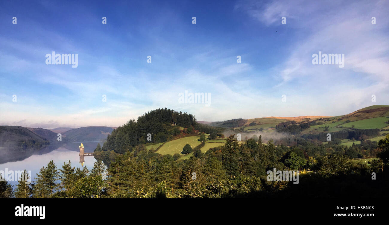 LAKE VYRNWY, Powys, Wales, showing the Gothic Revival straining tower Photo Tony Gale - Stock Image
