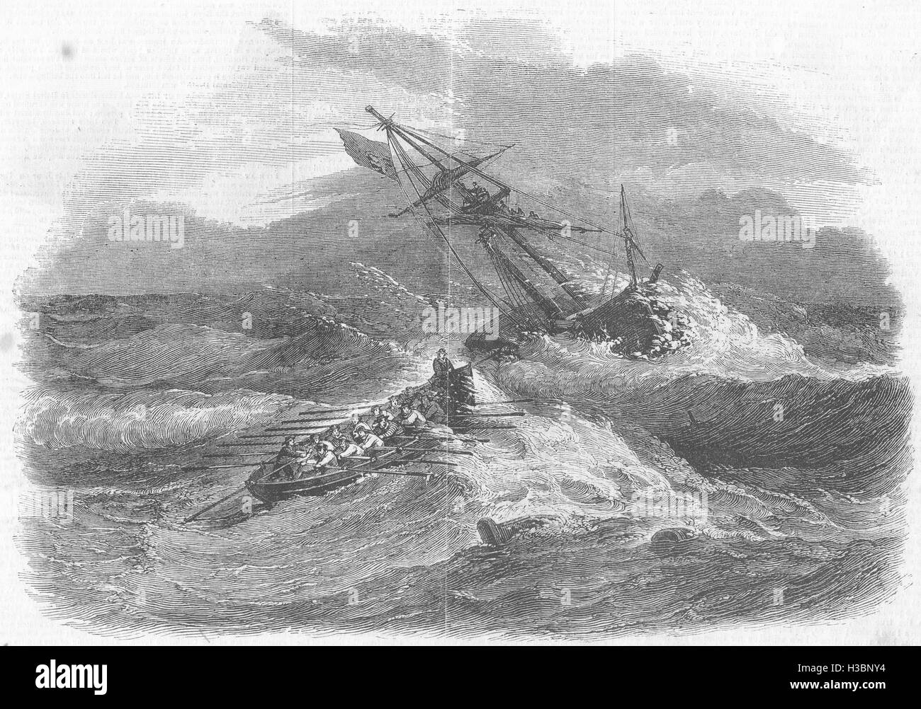 WALES Rhyl lifeboat saving crew of Brigantine wrecked Pansern, Abergele 1857. The Illustrated London News - Stock Image