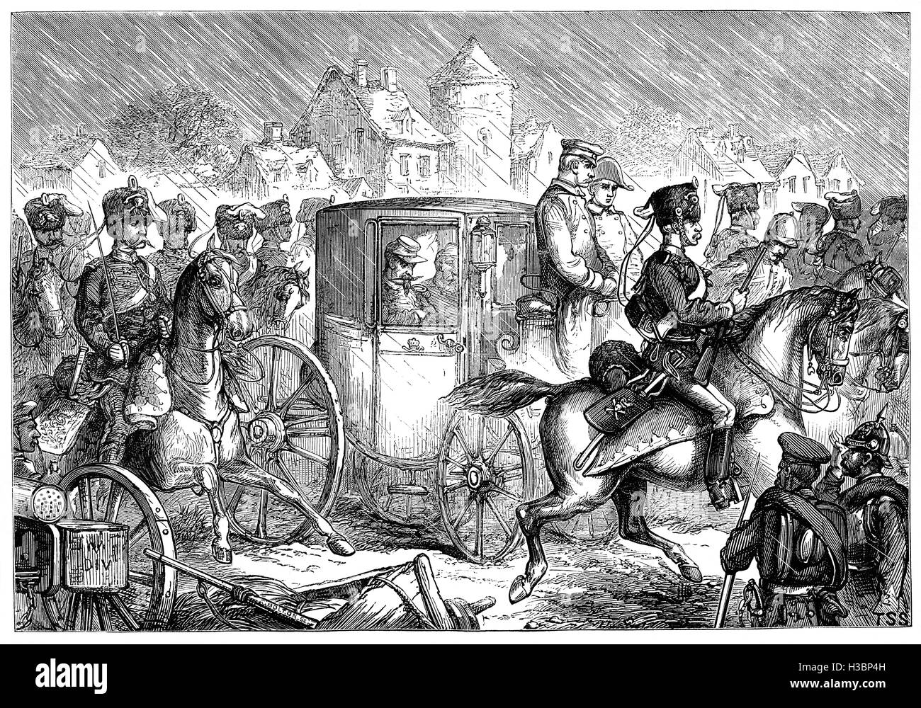 The defeated Emperor Napoleon III on his way to Wilhelmshohe, where he was offered accommodation by the Prussian - Stock Image