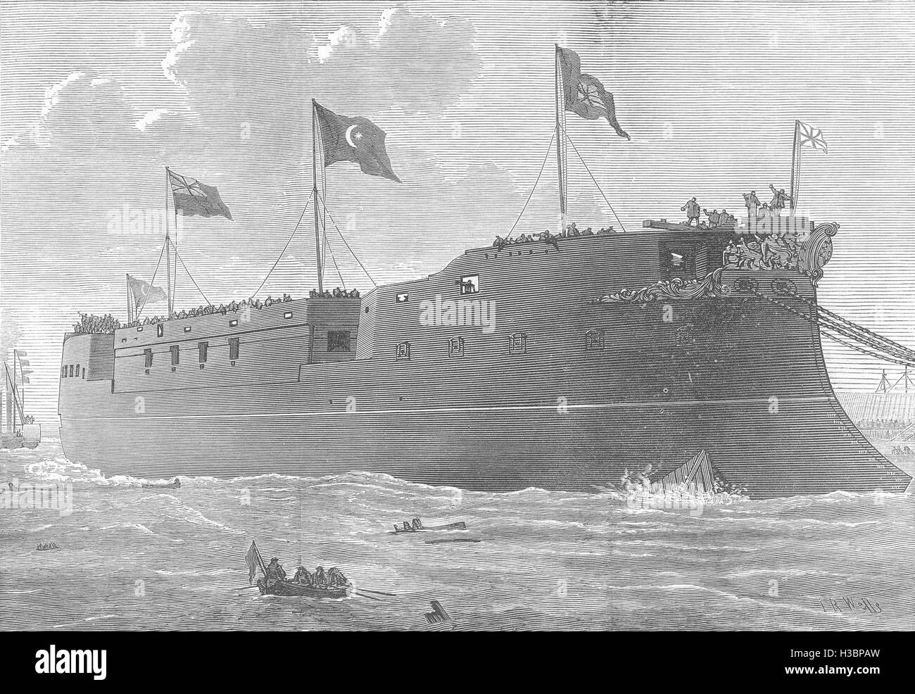 LONDON Launch of the Turkish Iron-clad frigate Mes Oudiyeh at Blackwall 1874. The Illustrated London News - Stock Image