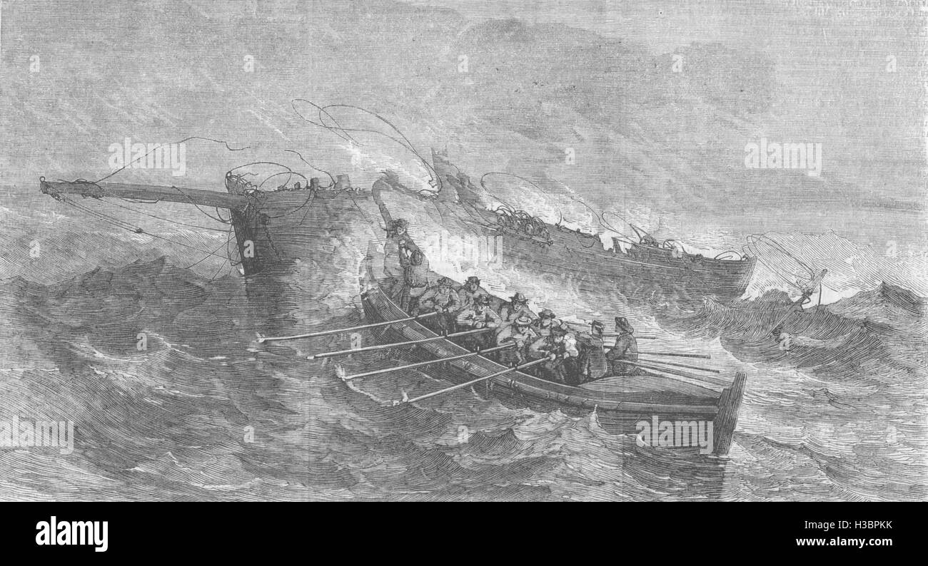 SURREY The Denby Life-boat saving the Crew of the Smack Bruce, of Milford 1859. The Illustrated London News - Stock Image