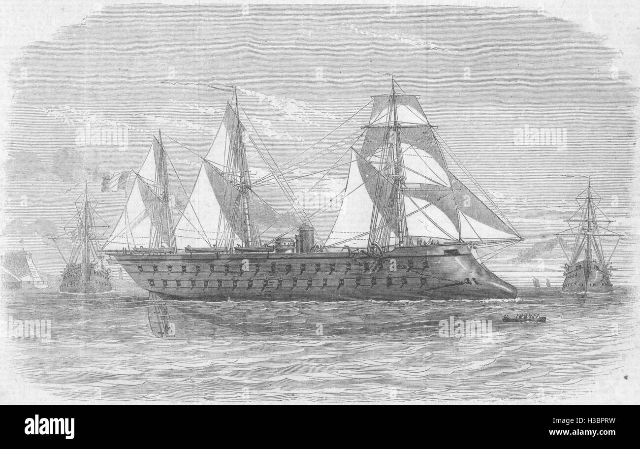 ITALY The Magenta French Iron-plated vessel of war 1862. The Illustrated London News - Stock Image